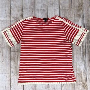 J. Crew | Lace Embroidered Top | Red Stripe | M
